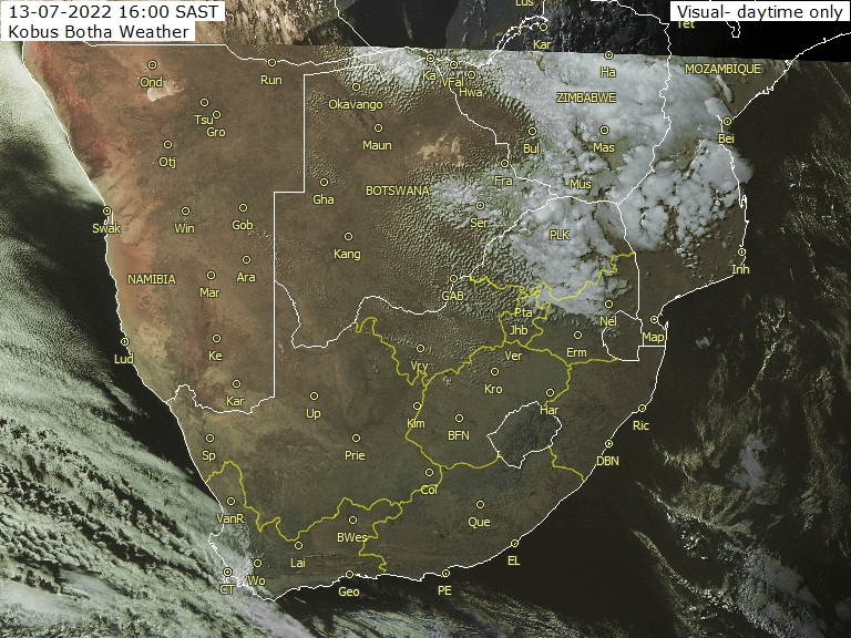 HIGH RESOLUTION WEATHER SATELLITE PHOTO (VISUAL) COVERING SA, NAMIBIA AND BOTSWANA