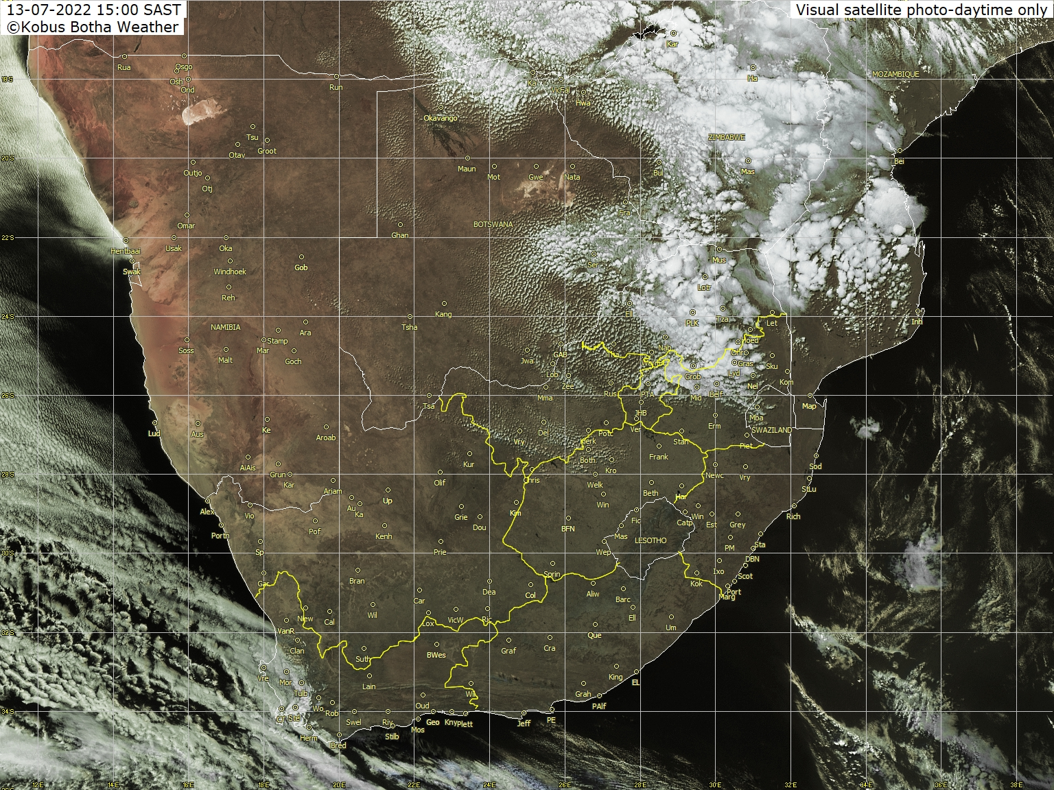 Meteosat - görünür - Güney Afrika, Namibya, Botsvana